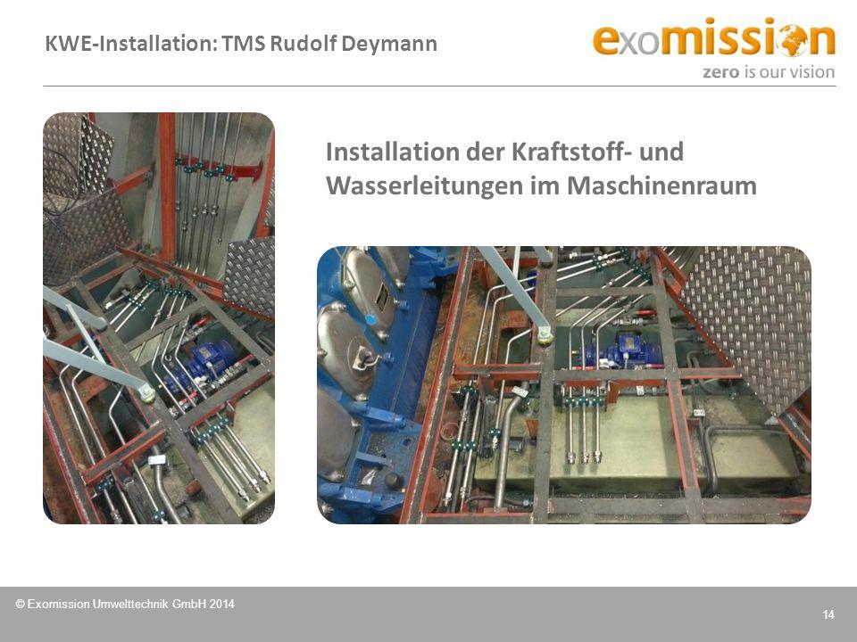 Installation der Kraftstoff- und Wasserleitungen im Maschinenraum