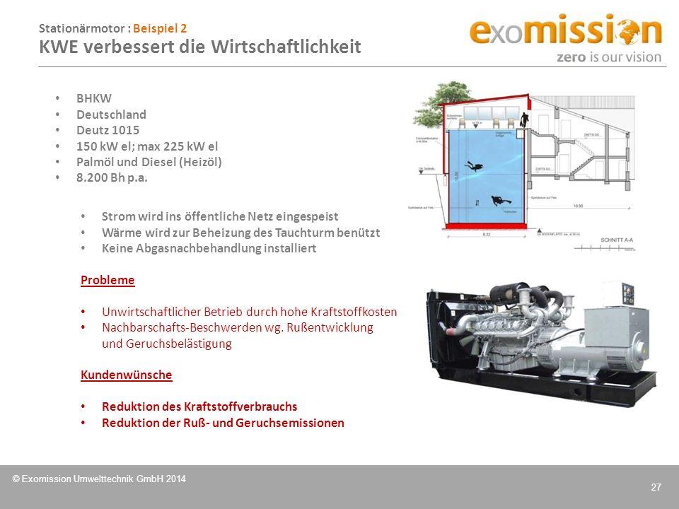 Stationärmotor : Beispiel 2 KWE verbessert die Wirtschaftlichkeit