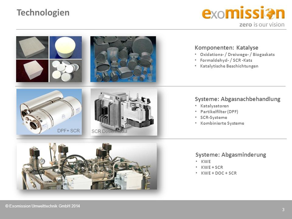 Technologien Komponenten: Katalyse Systeme: Abgasnachbehandlung