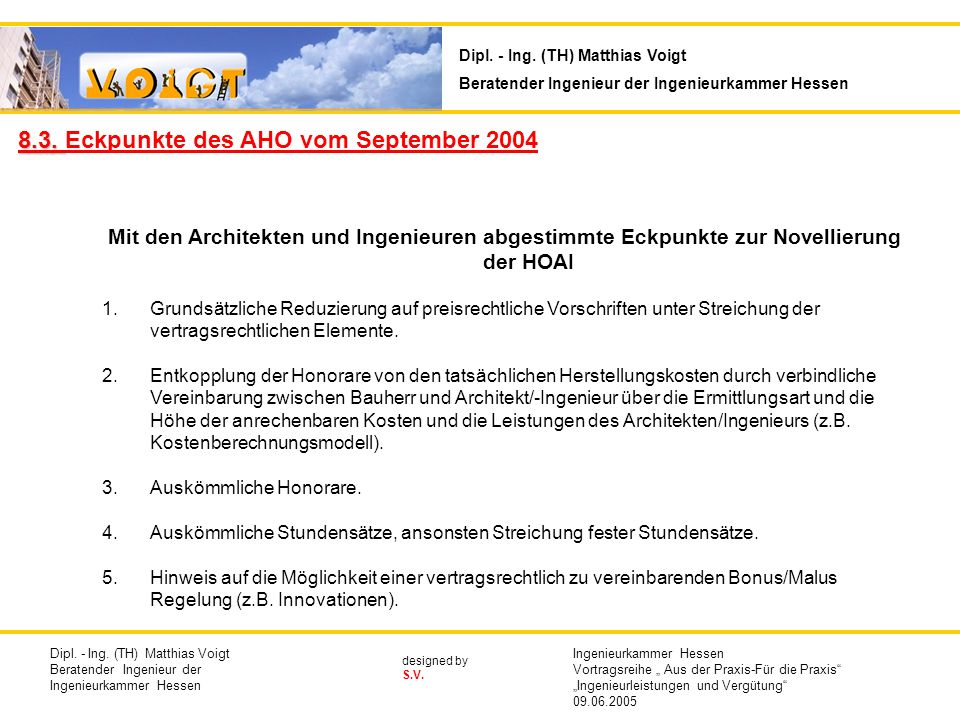 8.3. Eckpunkte des AHO vom September 2004