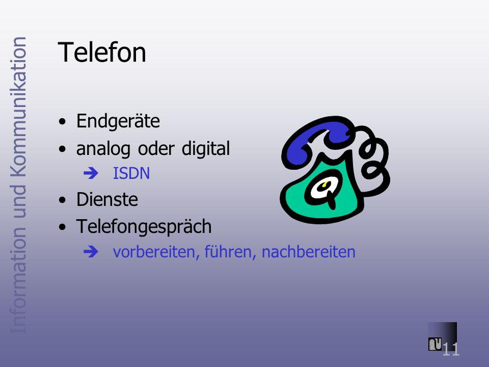 Telefon Endgeräte analog oder digital Dienste Telefongespräch ISDN