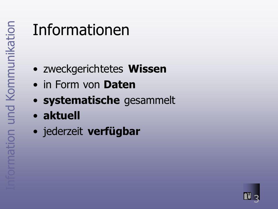 Informationen zweckgerichtetes Wissen in Form von Daten