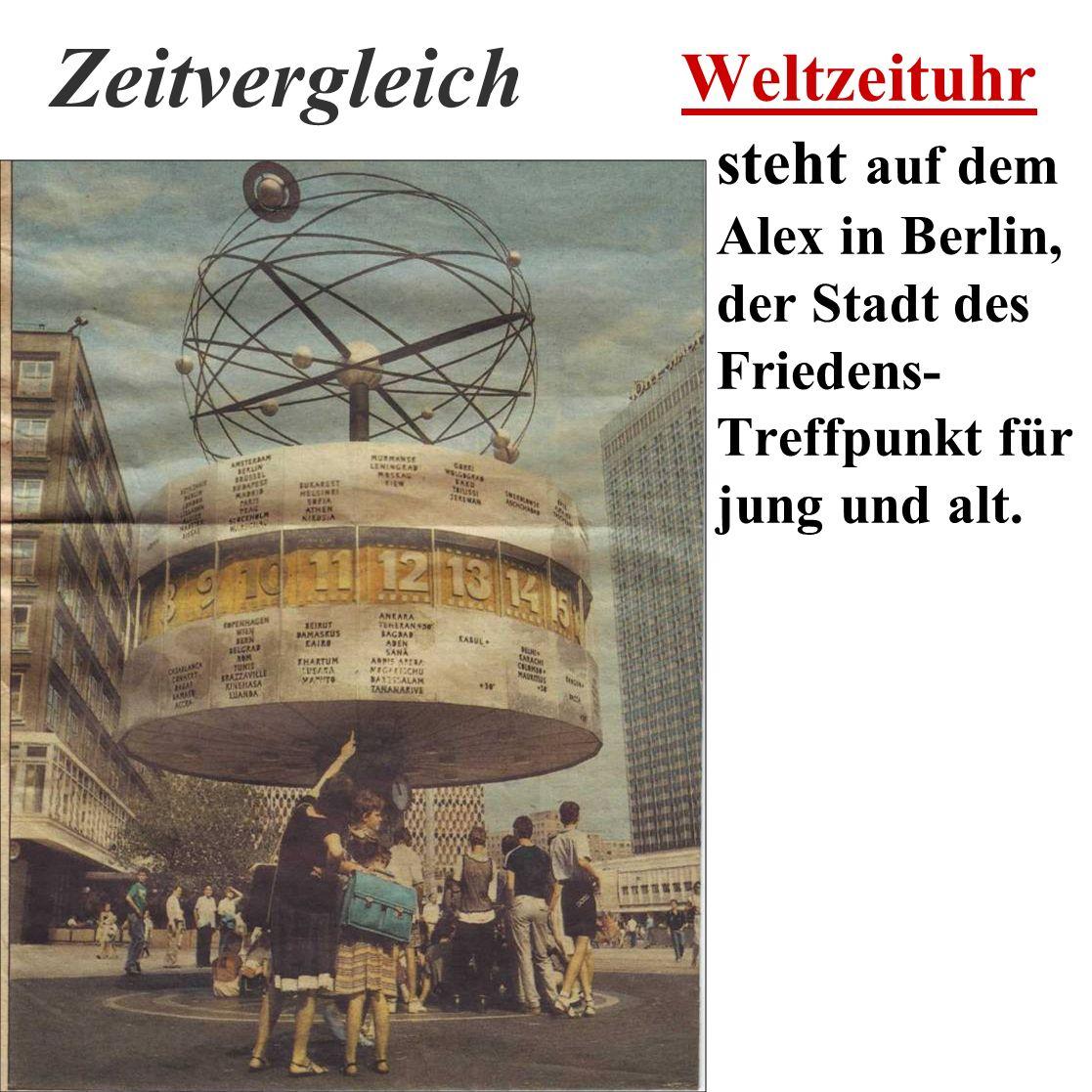 Zeitvergleich Weltzeituhr steht auf dem Alex in Berlin, der Stadt des Friedens- Treffpunkt für jung und alt.