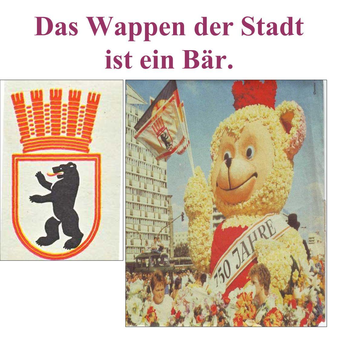 Das Wappen der Stadt ist ein Bär.