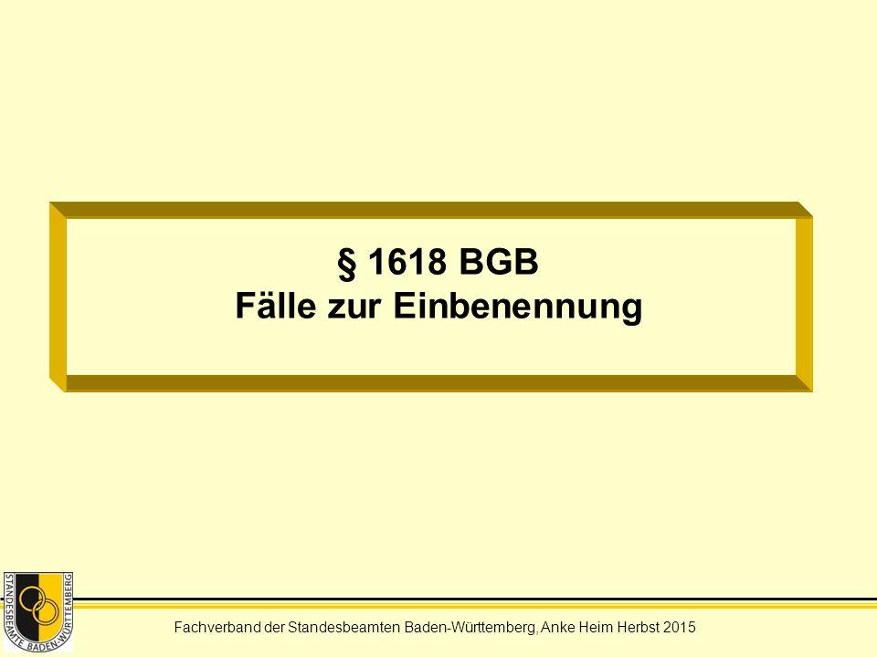 § 1618 BGB Fälle zur Einbenennung