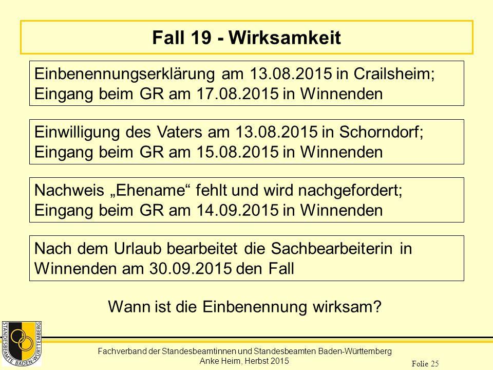 Fall 19 - Wirksamkeit Einbenennungserklärung am 13.08.2015 in Crailsheim; Eingang beim GR am 17.08.2015 in Winnenden.
