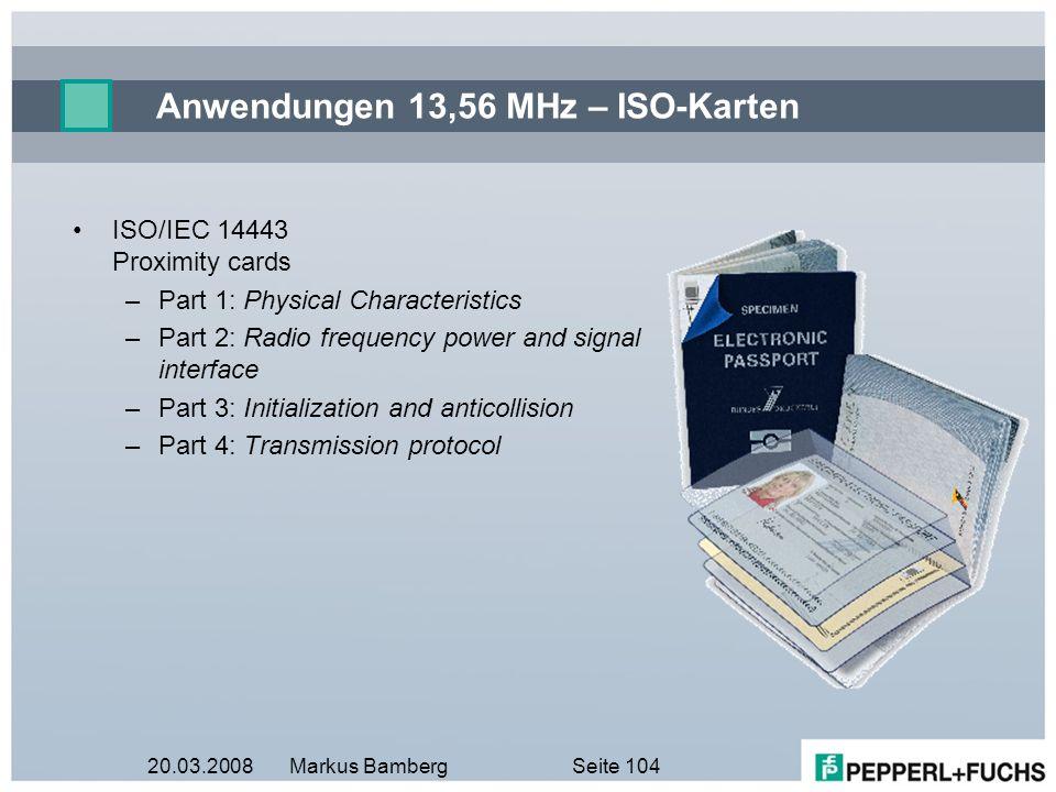 Anwendungen 13,56 MHz – ISO-Karten