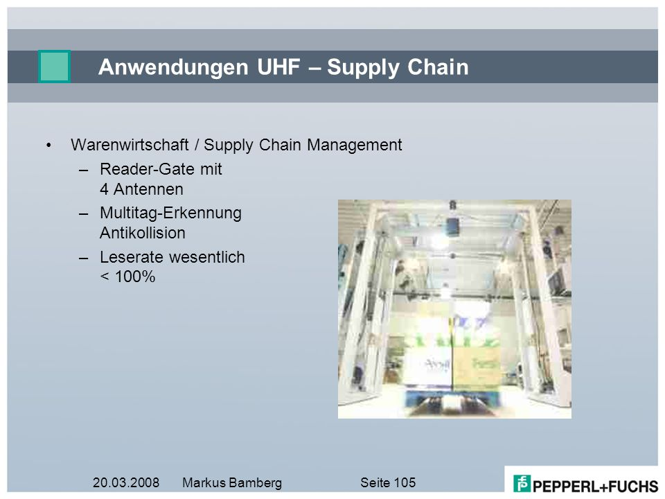 Anwendungen UHF – Supply Chain