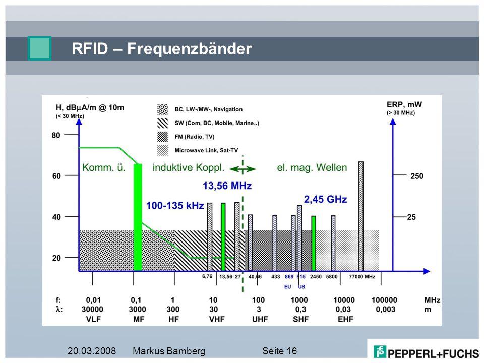 RFID – Frequenzbänder 20.03.2008 Markus Bamberg