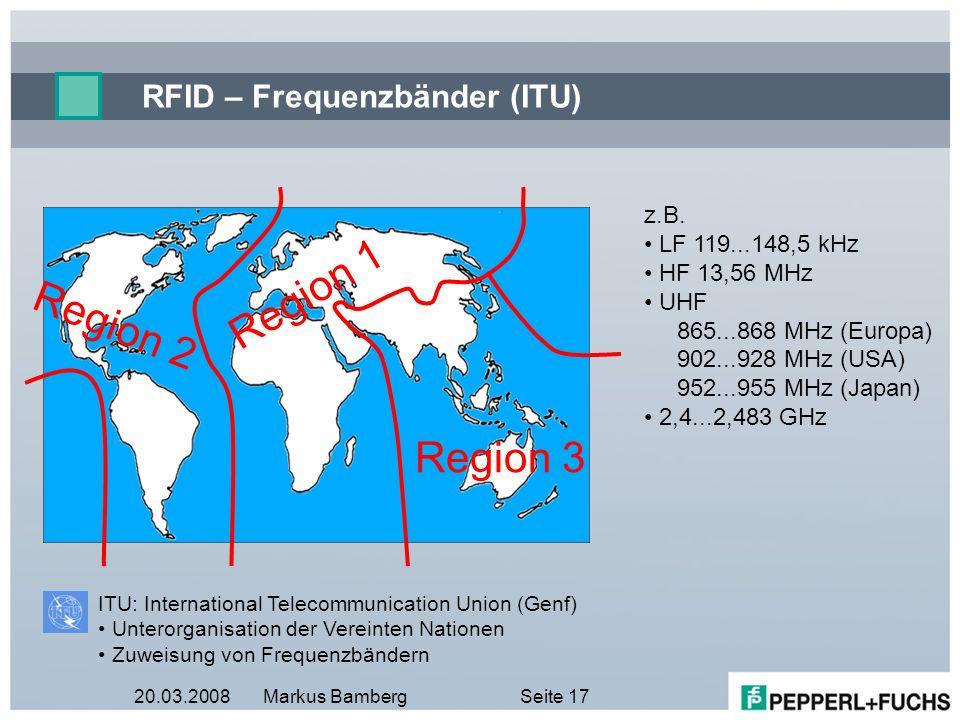 RFID – Frequenzbänder (ITU)