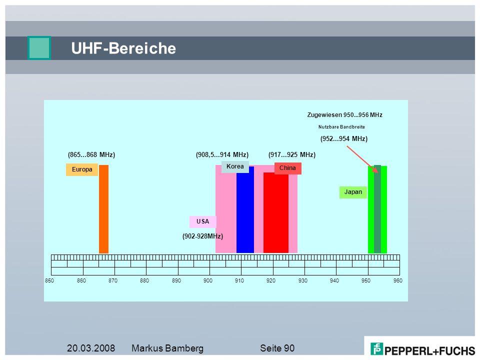 UHF-Bereiche 20.03.2008 Markus Bamberg ( 950 - 956MHz) ( 865 868MHz)