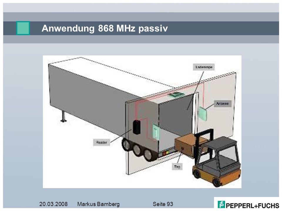 Anwendung 868 MHz passiv 20.03.2008 Markus Bamberg