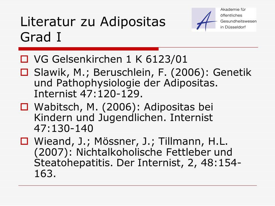 Literatur zu Adipositas Grad I