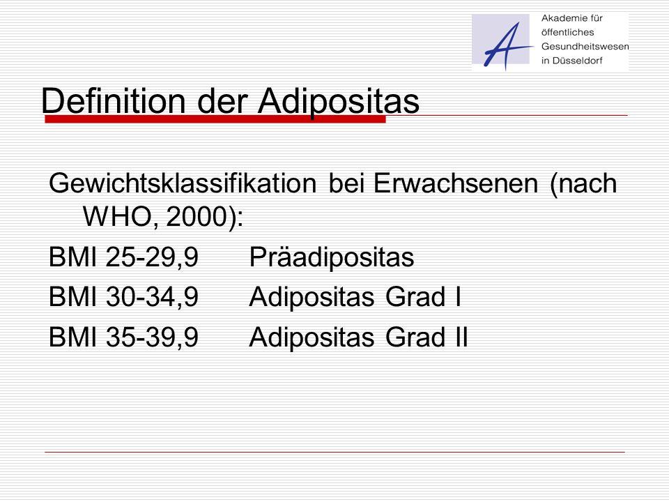 Definition der Adipositas