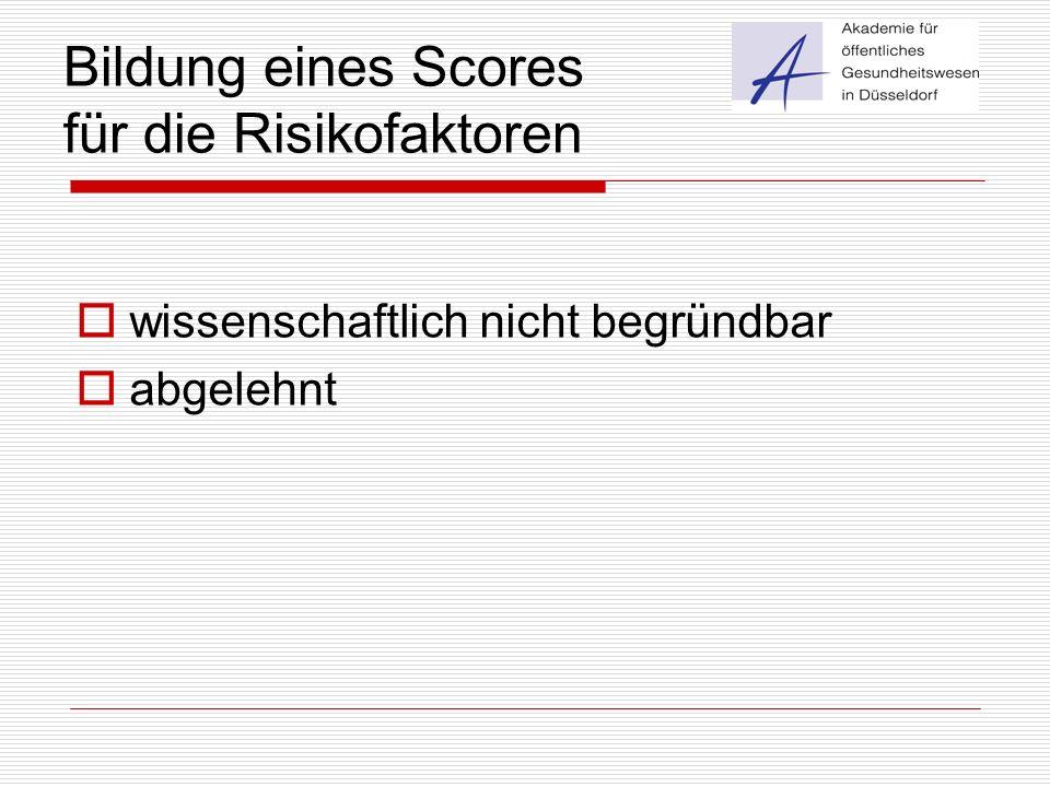 Bildung eines Scores für die Risikofaktoren