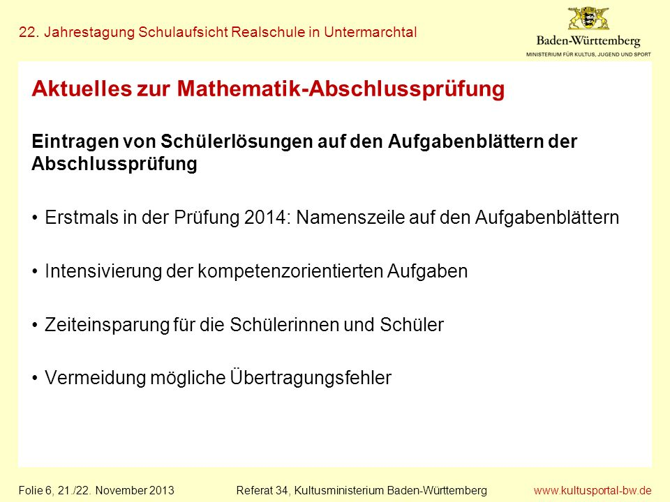Aktuelles zur Mathematik-Abschlussprüfung