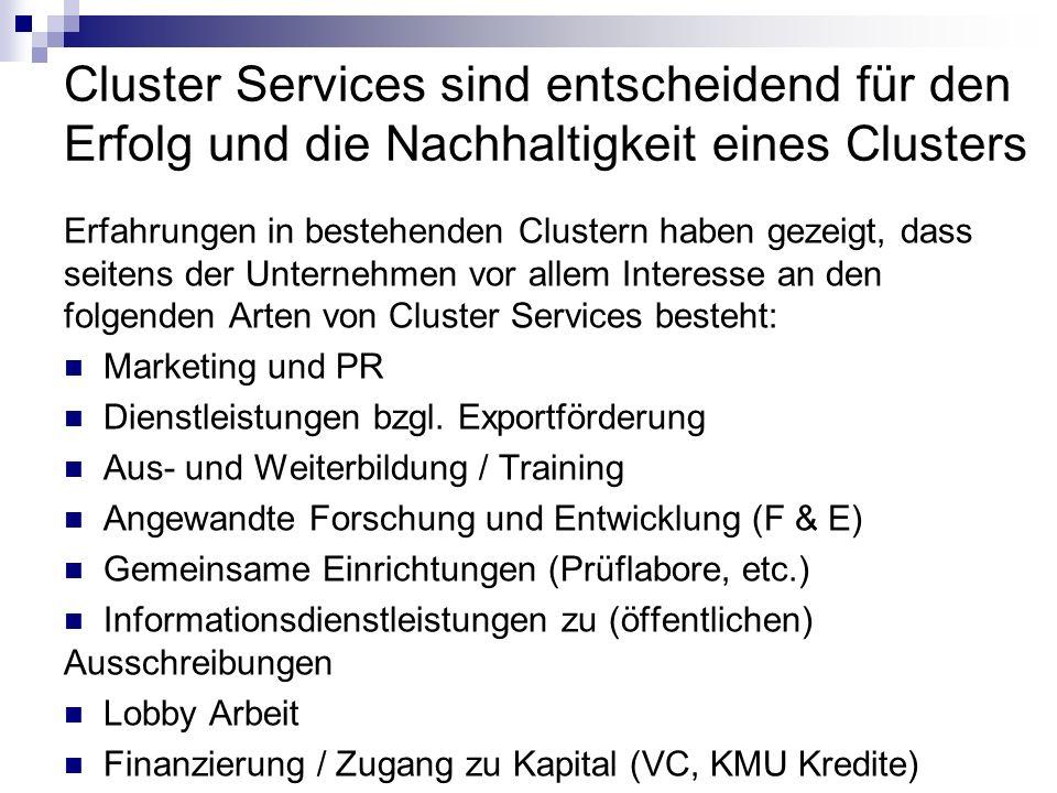 Cluster Services sind entscheidend für den Erfolg und die Nachhaltigkeit eines Clusters