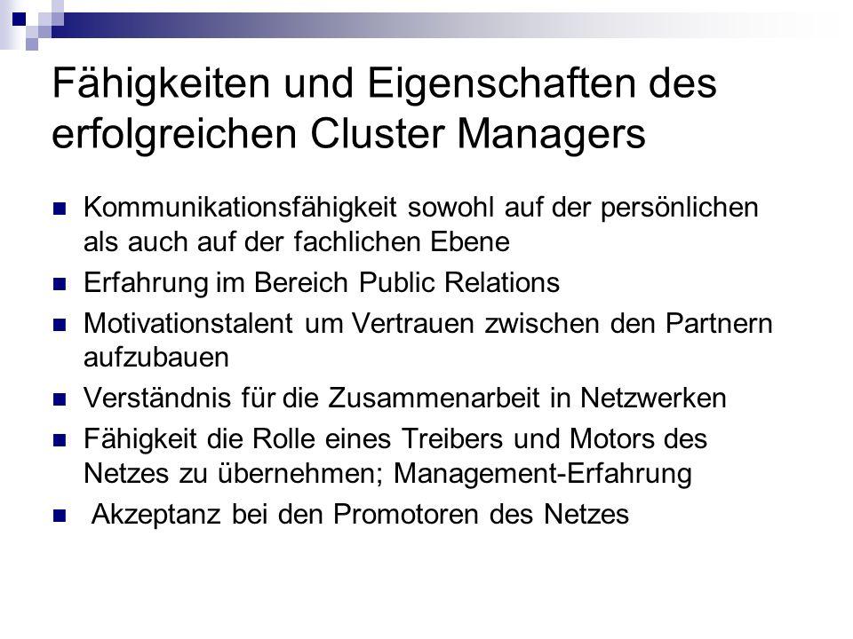 Fähigkeiten und Eigenschaften des erfolgreichen Cluster Managers