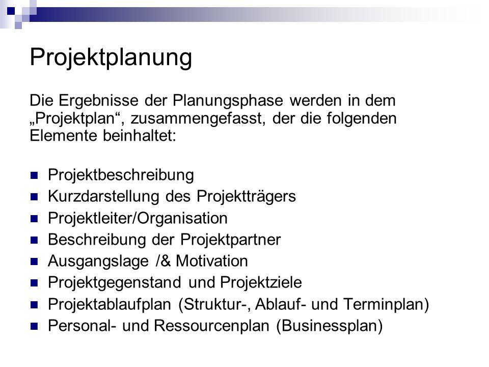 """Projektplanung Die Ergebnisse der Planungsphase werden in dem """"Projektplan , zusammengefasst, der die folgenden Elemente beinhaltet:"""