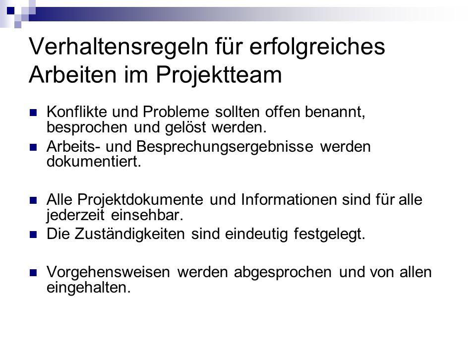 Verhaltensregeln für erfolgreiches Arbeiten im Projektteam