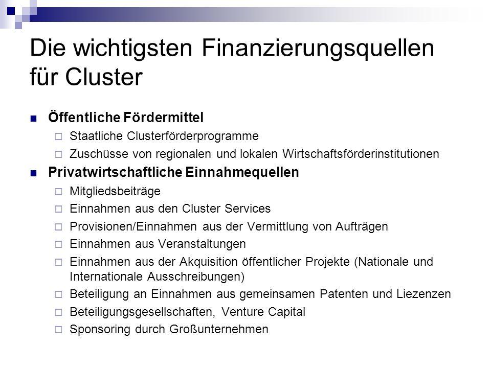 Die wichtigsten Finanzierungsquellen für Cluster