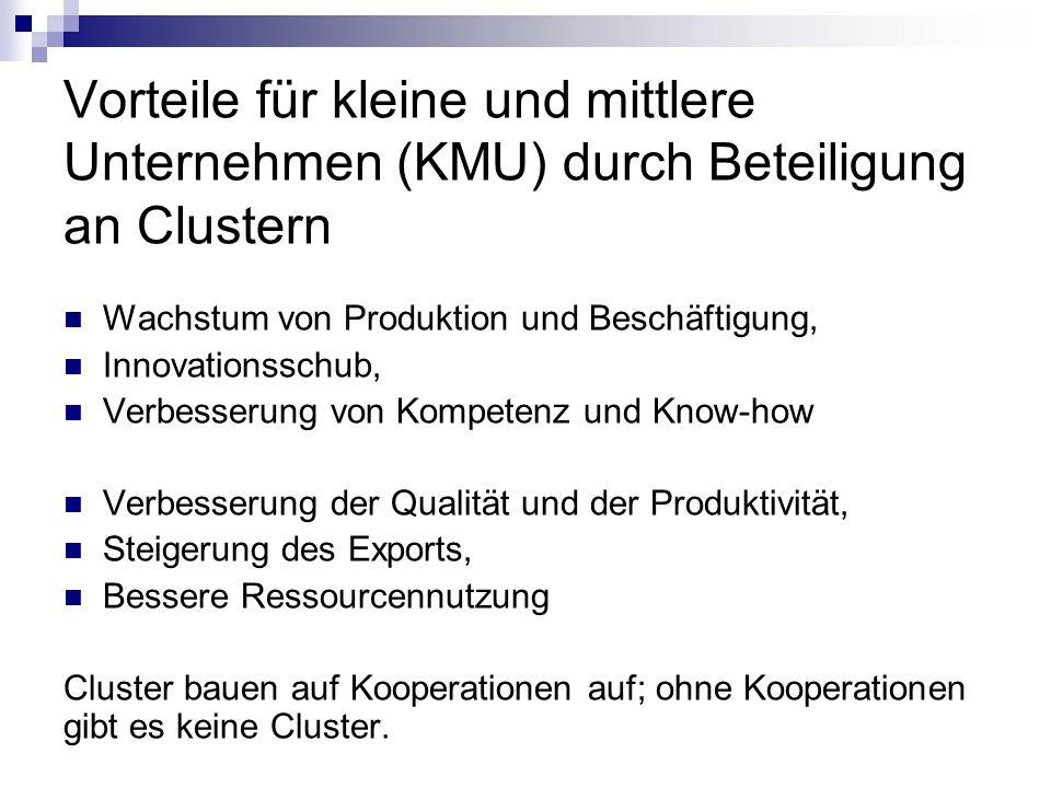 Vorteile für kleine und mittlere Unternehmen (KMU) durch Beteiligung an Clustern