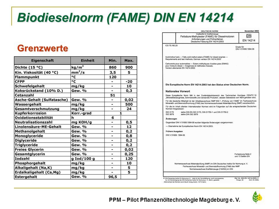 Biodieselnorm (FAME) DIN EN 14214