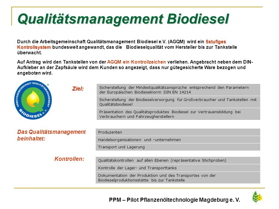 Qualitätsmanagement Biodiesel