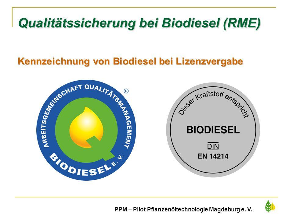 Qualitätssicherung bei Biodiesel (RME) Kennzeichnung von Biodiesel bei Lizenzvergabe