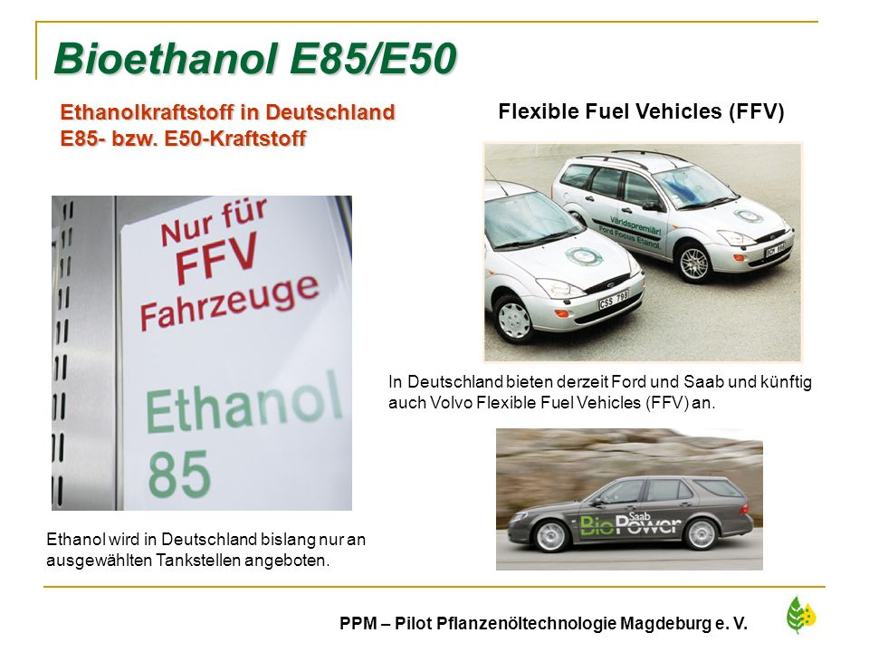 Bioethanol E85/E50 Ethanolkraftstoff in Deutschland