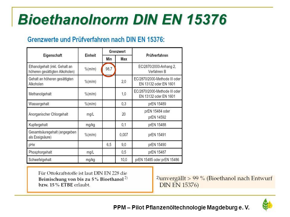 Bioethanolnorm DIN EN 15376 2) PPM – Pilot Pflanzenöltechnologie Magdeburg e. V.