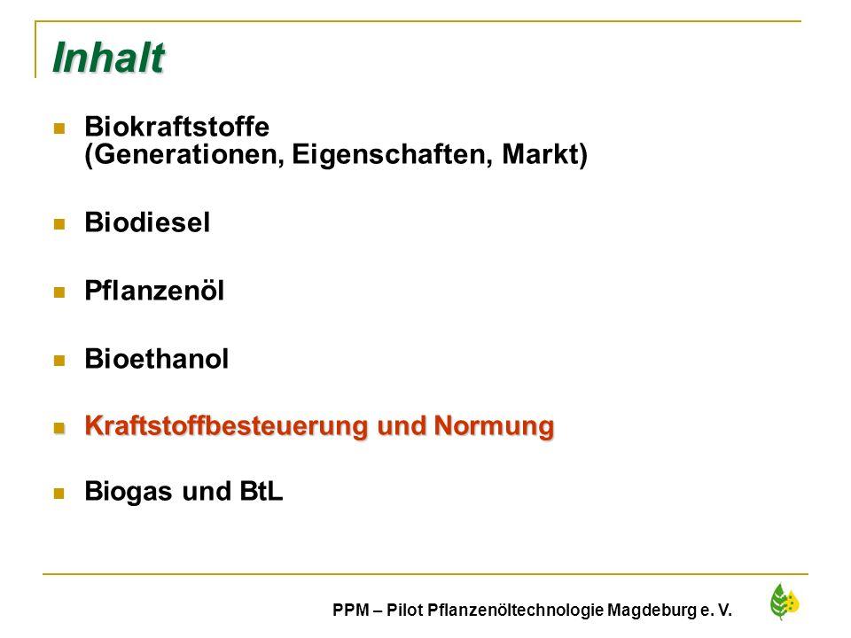 Inhalt Biokraftstoffe (Generationen, Eigenschaften, Markt) Biodiesel