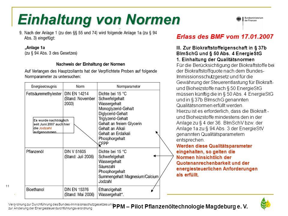 Einhaltung von Normen Erlass des BMF vom 17.01.2007