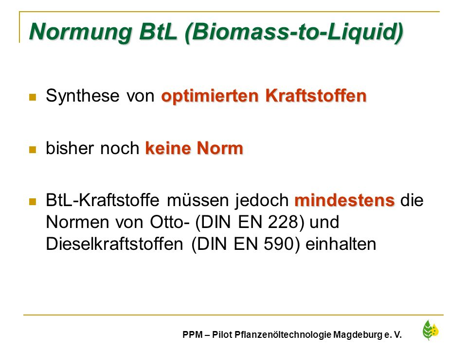 Normung BtL (Biomass-to-Liquid)