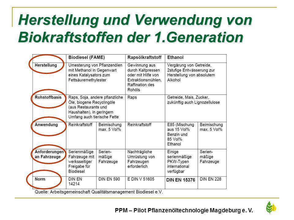 Herstellung und Verwendung von Biokraftstoffen der 1.Generation
