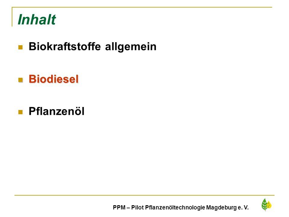 Inhalt Biokraftstoffe allgemein Biodiesel Pflanzenöl