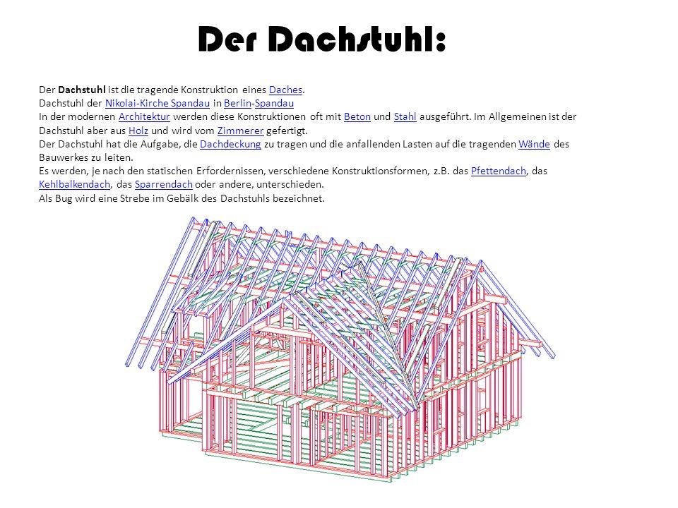 Der Dachstuhl: Der Dachstuhl ist die tragende Konstruktion eines Daches. Dachstuhl der Nikolai-Kirche Spandau in Berlin-Spandau.