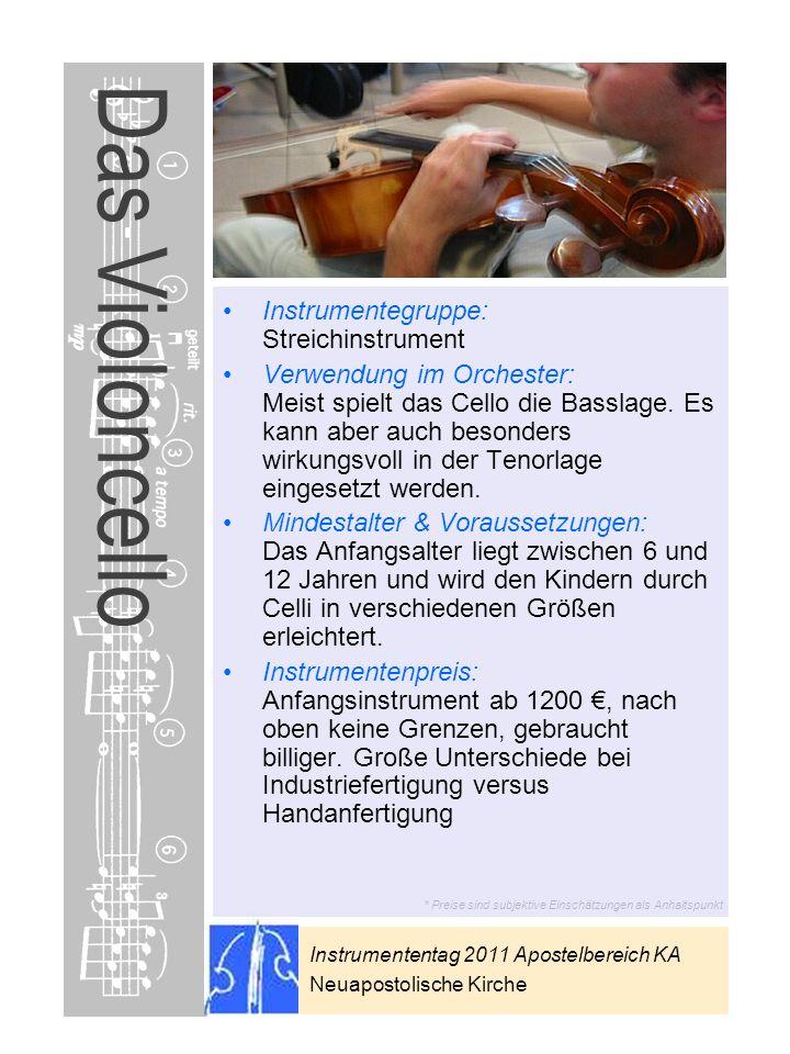 Das Violoncello Instrumentegruppe: Streichinstrument