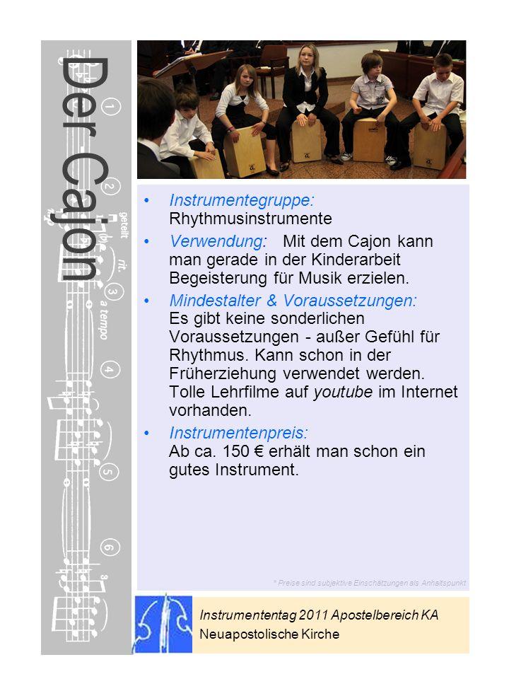 Der Cajon Instrumentegruppe: Rhythmusinstrumente