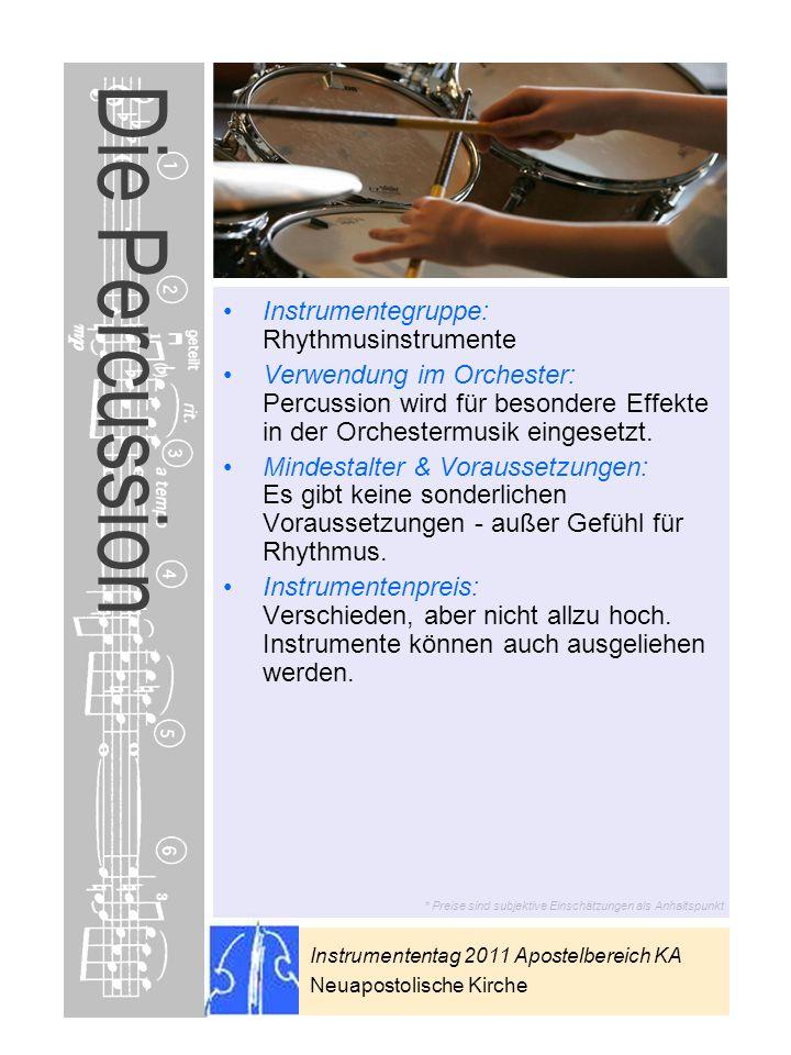 Die Percussion Instrumentegruppe: Rhythmusinstrumente