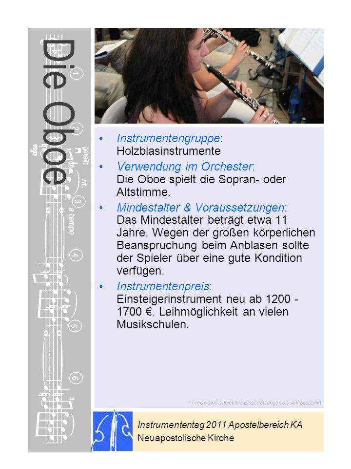 Die Oboe Instrumentengruppe: Holzblasinstrumente