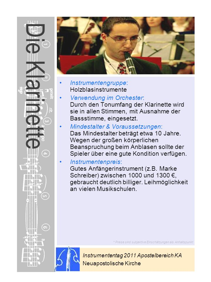Die Klarinette Instrumentengruppe: Holzblasinstrumente