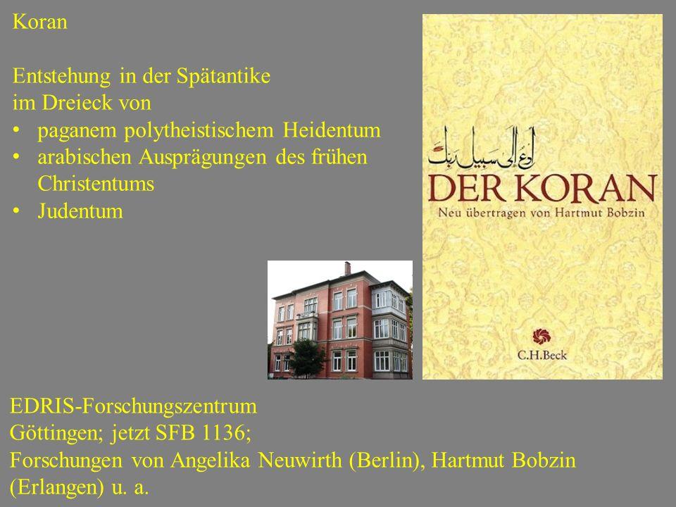 Koran Entstehung in der Spätantike. im Dreieck von. paganem polytheistischem Heidentum. arabischen Ausprägungen des frühen Christentums.