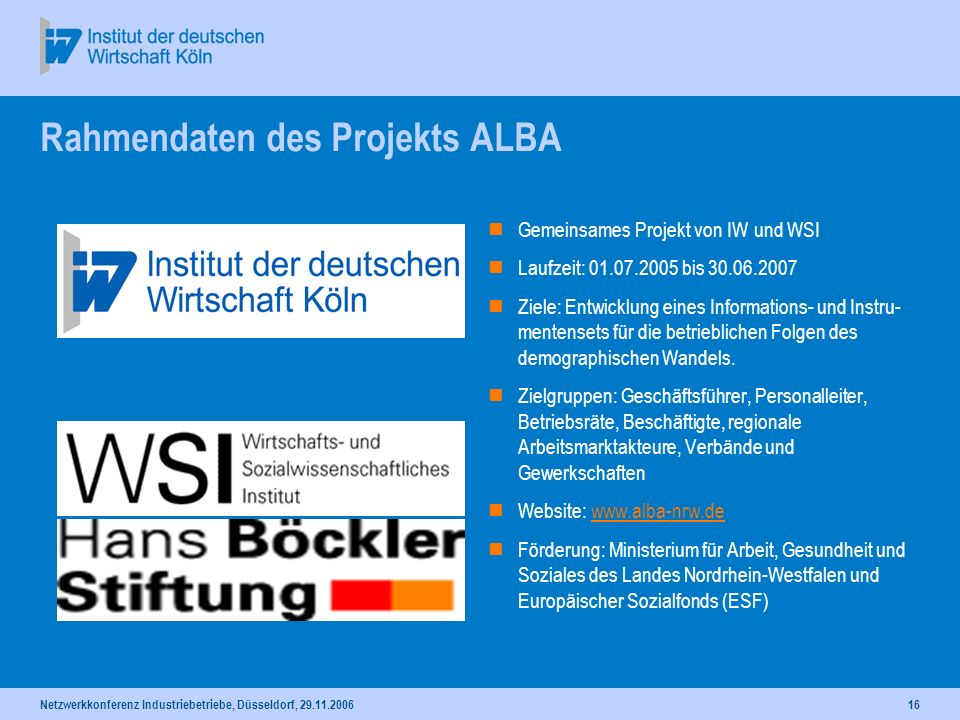 Rahmendaten des Projekts ALBA