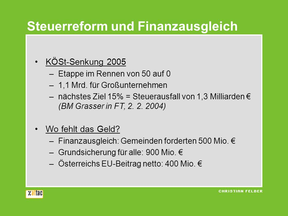 Steuerreform und Finanzausgleich