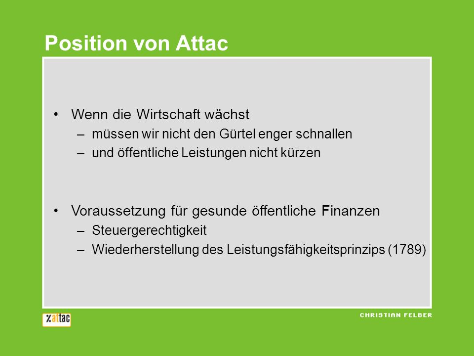 Position von Attac Wenn die Wirtschaft wächst