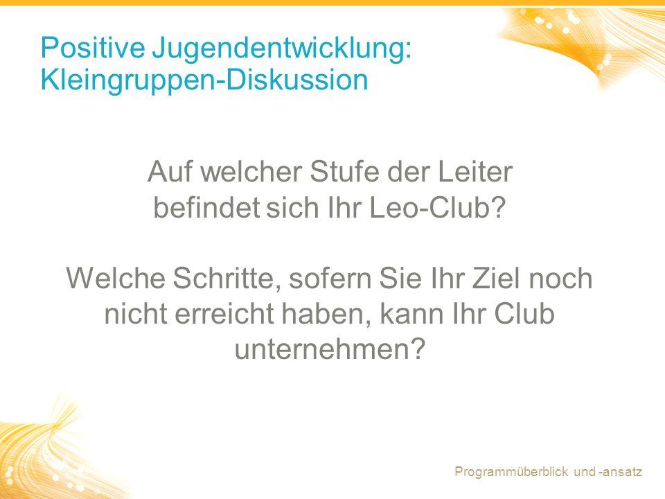 Positive Jugendentwicklung: Kleingruppen-Diskussion