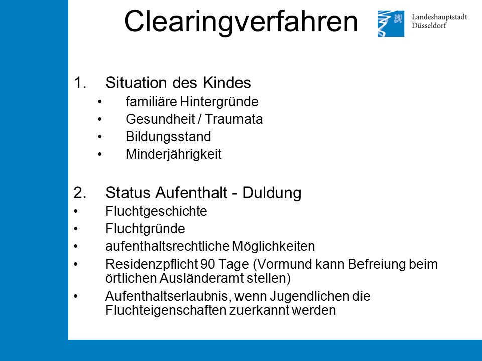 Clearingverfahren Situation des Kindes Status Aufenthalt - Duldung