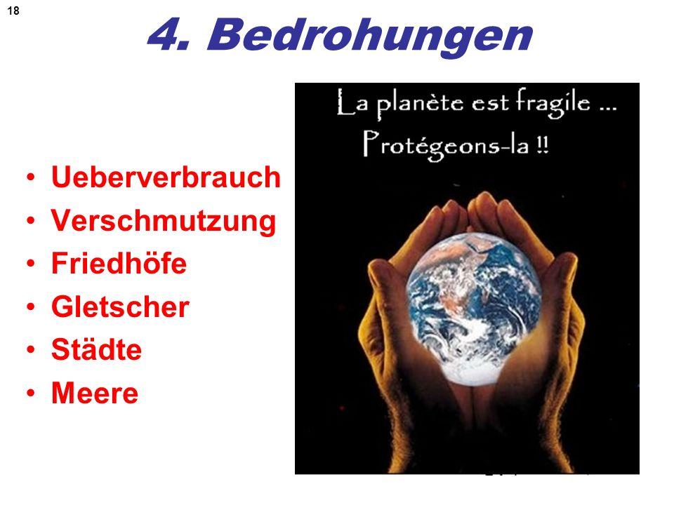 4. Bedrohungen Ueberverbrauch Verschmutzung Friedhöfe Gletscher Städte