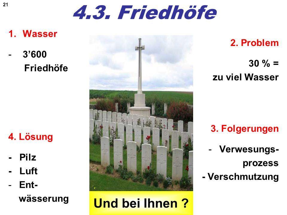 4.3. Friedhöfe Und bei Ihnen Wasser 3'600 2. Problem Friedhöfe
